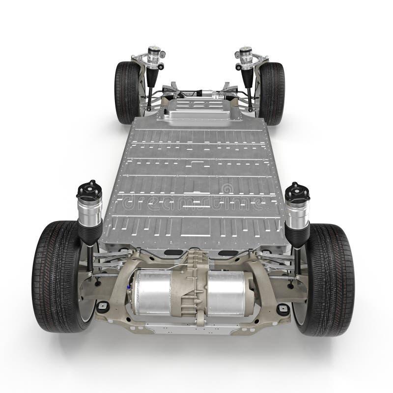 与电池的电车底盘在白色 查出的背面图白色 3d例证 皇族释放例证