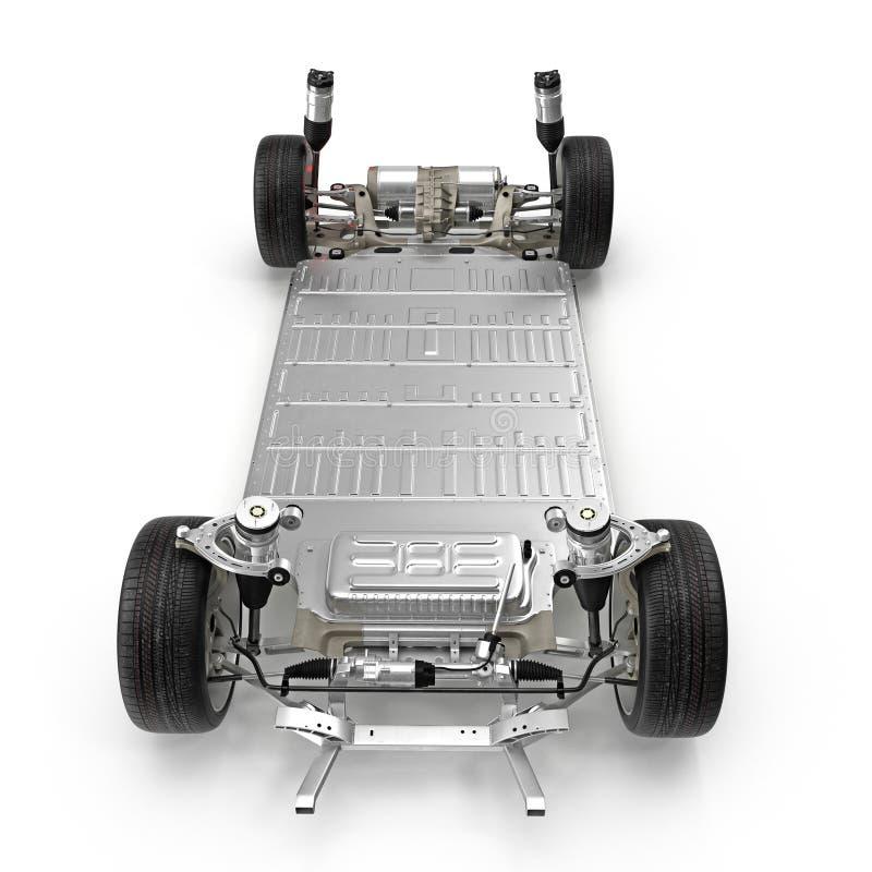 与电池的电车底盘在白色 正面图 3d例证 皇族释放例证