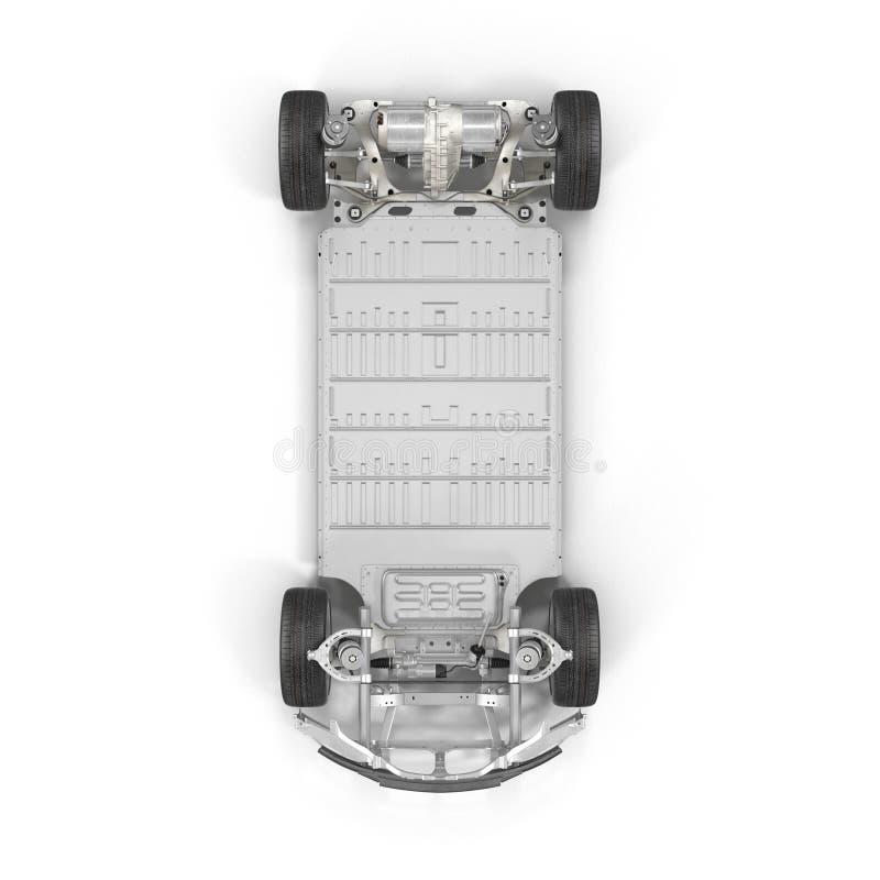 与电池的电车底盘在白色 顶视图 3d例证 皇族释放例证