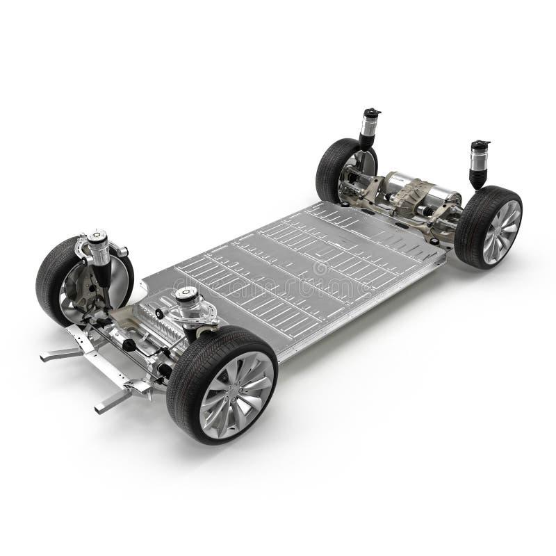 与电池的电车底盘在白色 3d例证 皇族释放例证