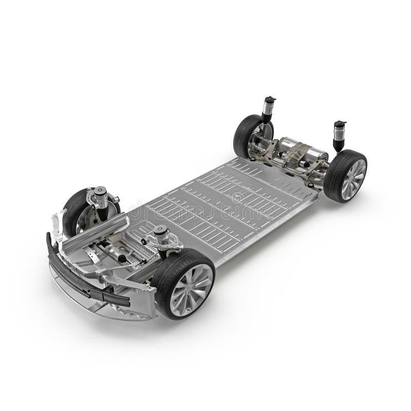 与电池的电车底盘在白色 3d例证 向量例证