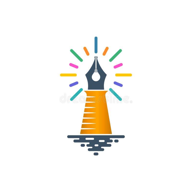 与电灯泡和光束的灯塔形状的笔鸟嘴 库存例证