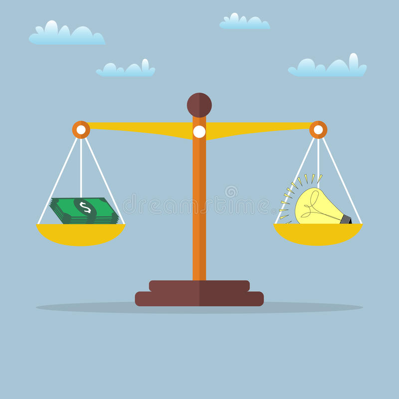 与电灯泡和现金金钱的标度 也corel凹道例证向量 库存例证