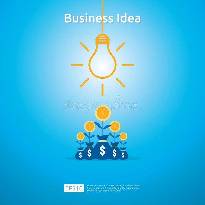 与电灯泡和美元硬币增长的植物元素对象的企业想法 财政创新解答概念或投资 库存例证