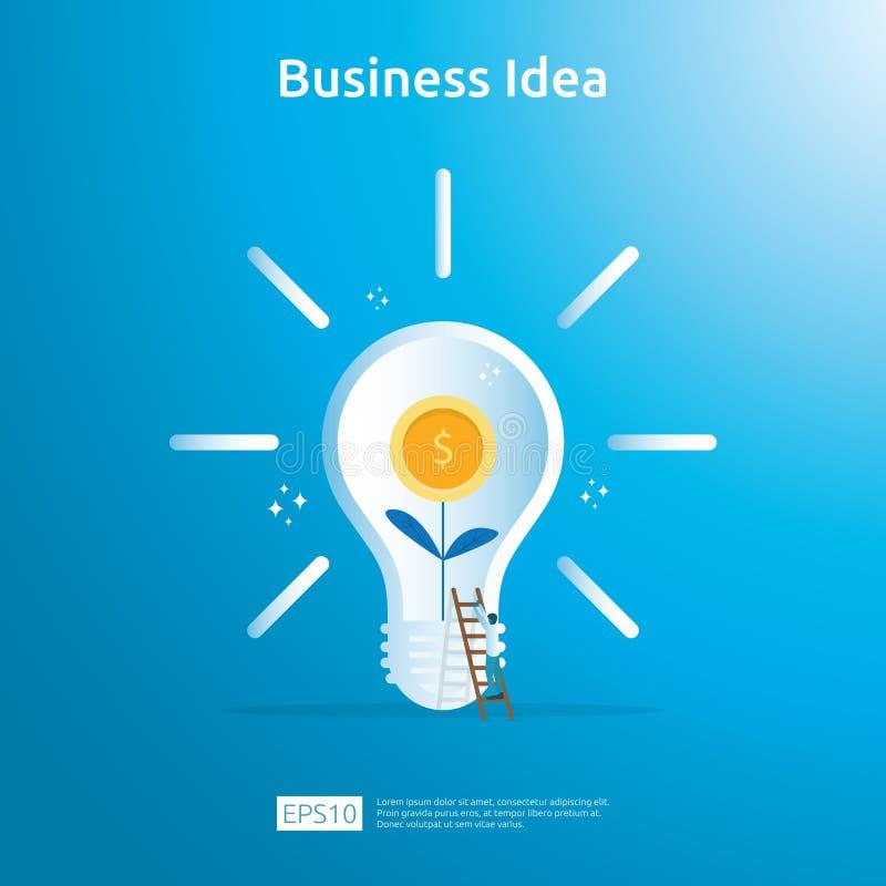 与电灯泡和美元硬币增长的植物元素对象的企业想法 财政创新解答概念或投资 向量例证
