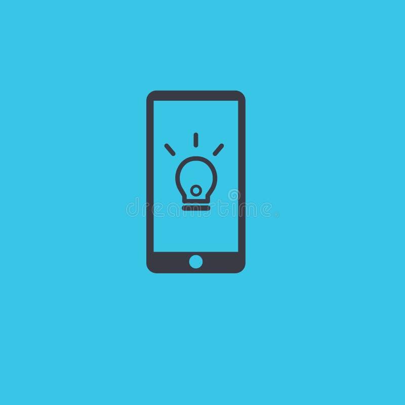 与电灯泡想法概念的现代手机象 皇族释放例证