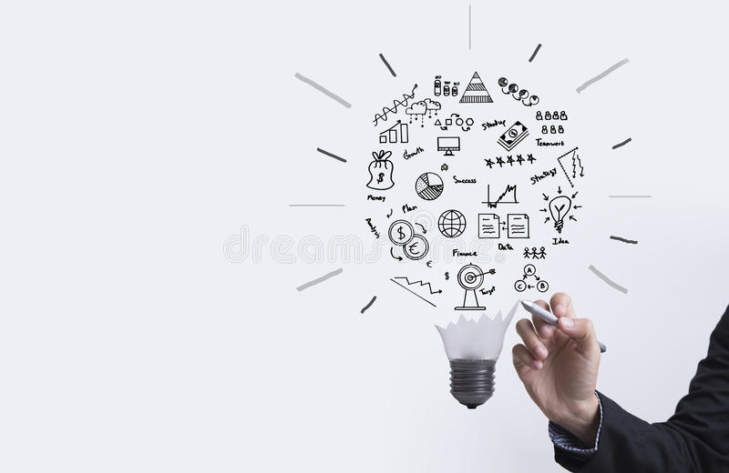 与电灯泡概念的企业图表想法的,创新 库存图片