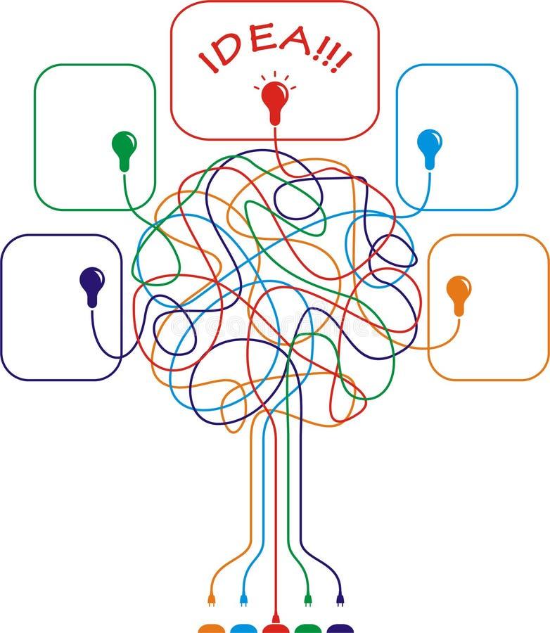 与电灯泡的五颜六色的结构树 库存例证