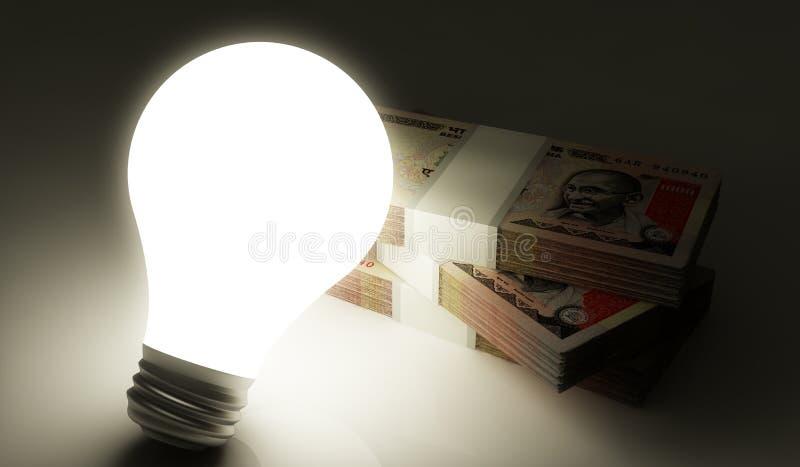 与电灯泡的印度卢比堆 皇族释放例证