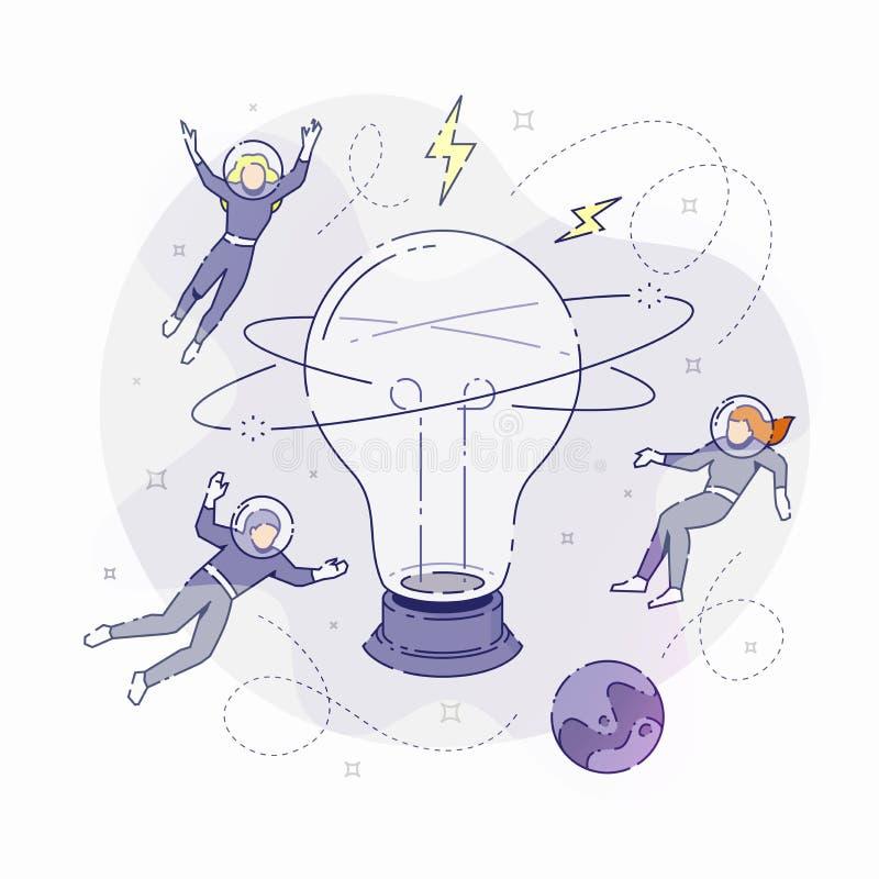 与电灯泡的开发商 向量例证
