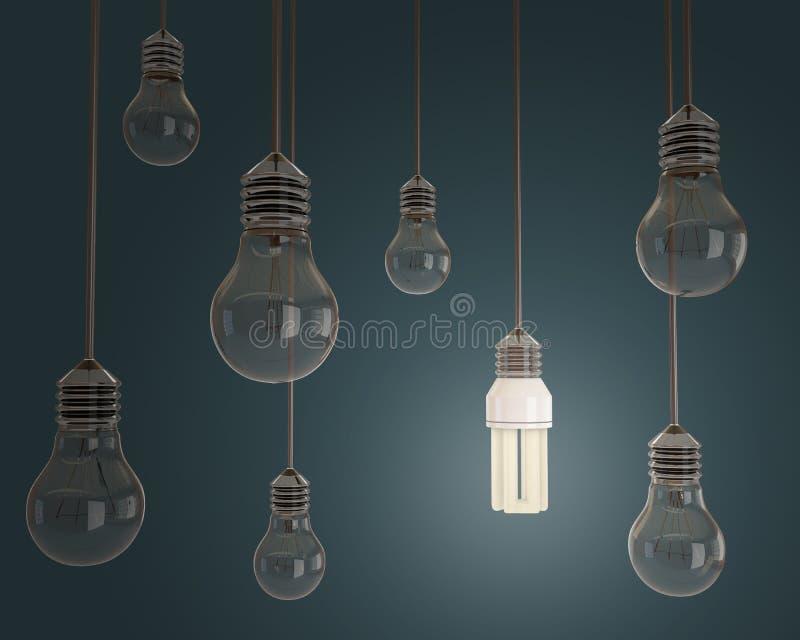 与电灯泡的想法概念在蓝色背景 库存例证