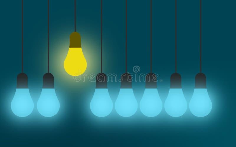 与电灯泡的想法概念在蓝色背景 皇族释放例证