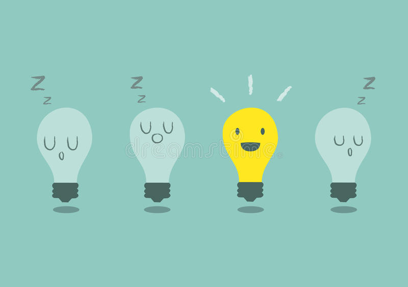 与电灯泡的明亮的想法概念 免版税库存图片