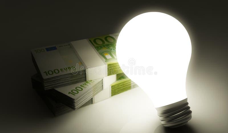 与电灯泡的欧洲堆 向量例证