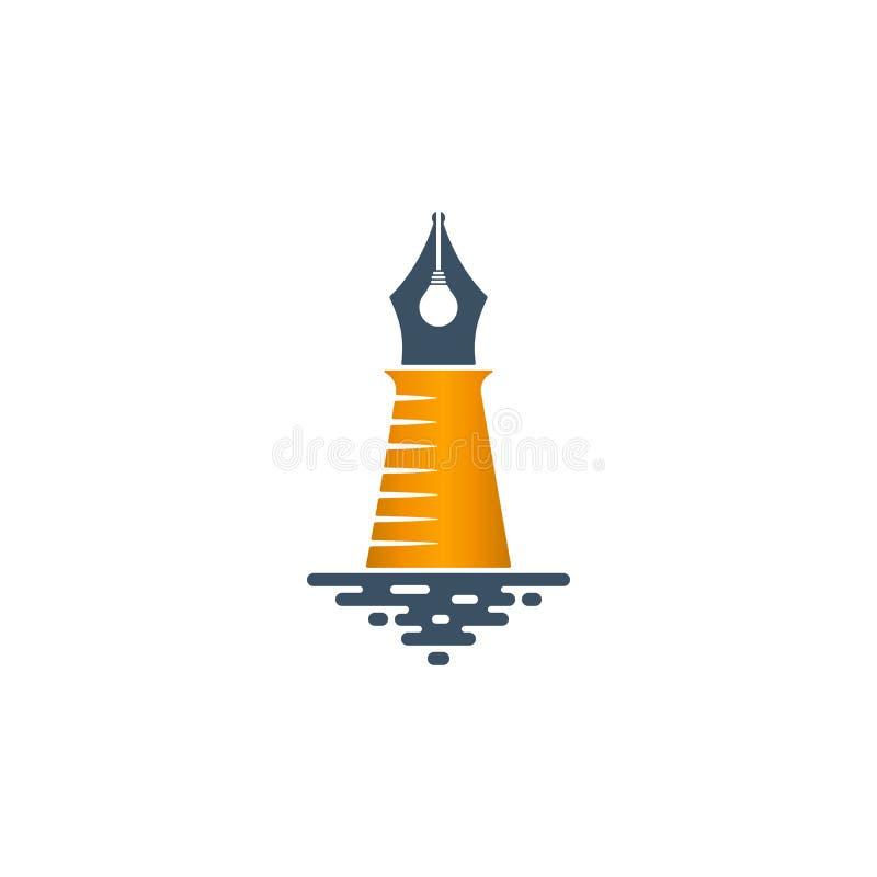 与电灯泡的灯塔形状的笔鸟嘴 库存例证