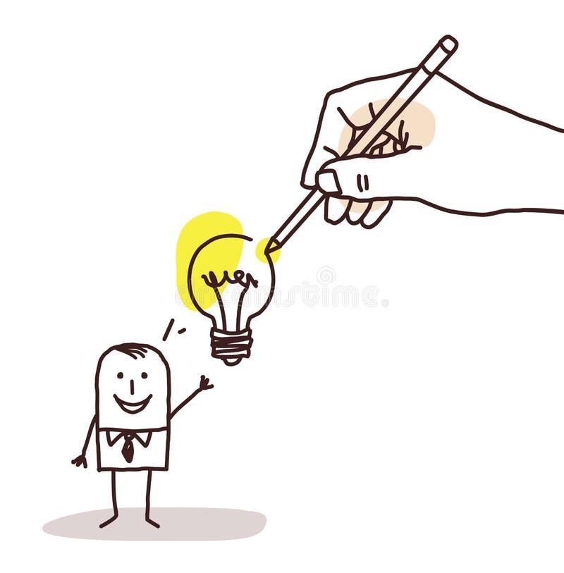 与电灯泡的画的大手动画片商人 向量例证