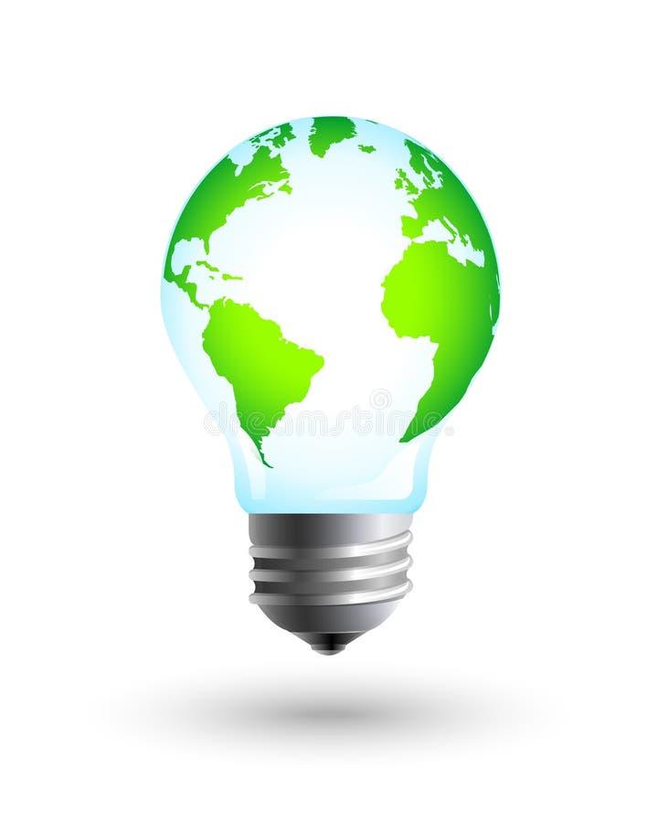 与电灯泡的绿色和eco地球作为能承受的资源概念 向量例证