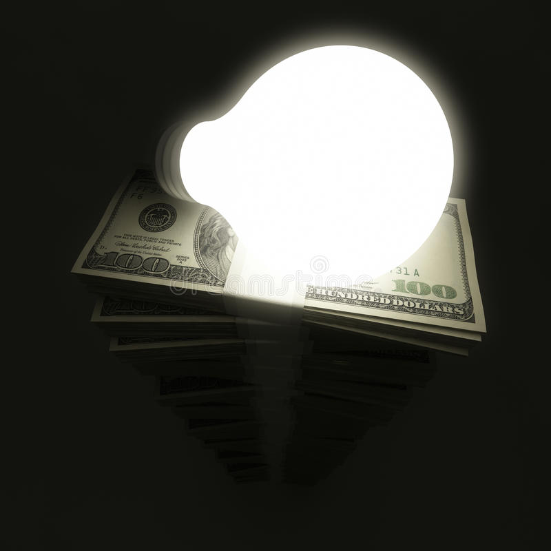 与电灯泡的美元堆 向量例证