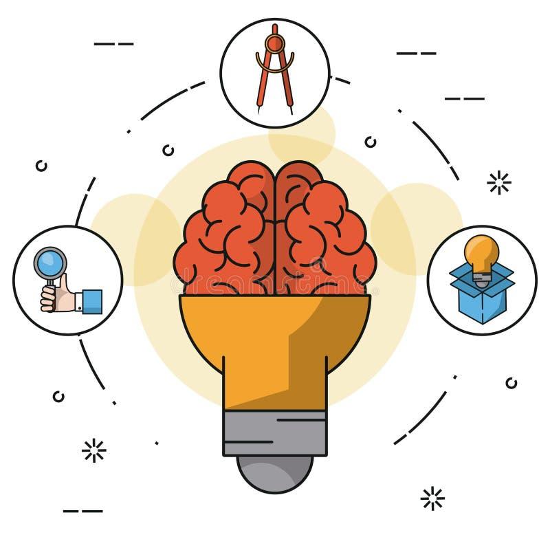 与电灯泡的Colorfulbackground在脑子手形状和象有放大镜的和指南针和电灯泡 向量例证