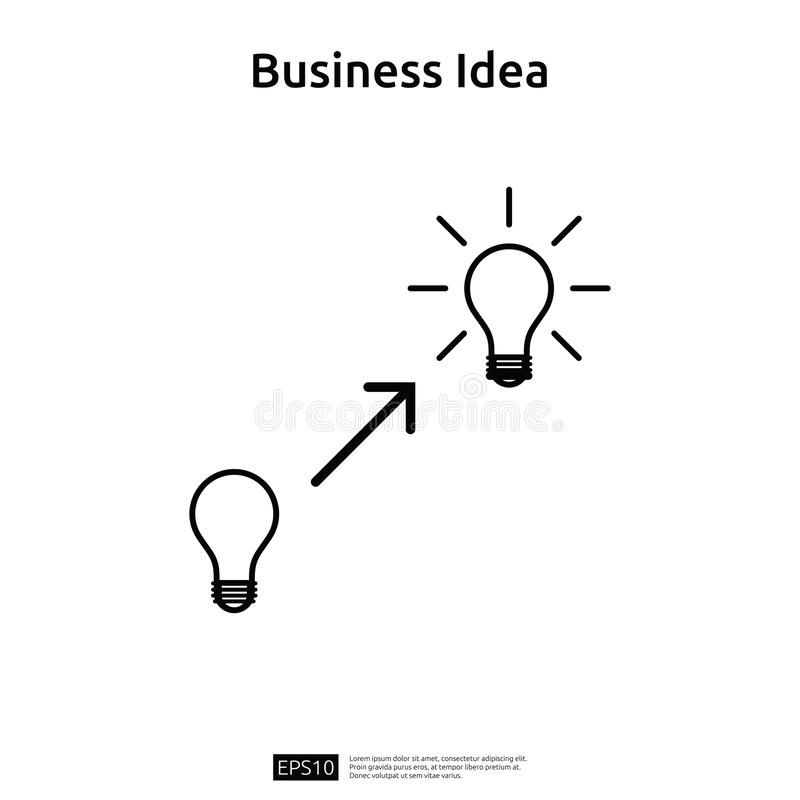 与电灯泡线象元素对象的企业想法 财政创新解答概念或投资视觉机会 皇族释放例证