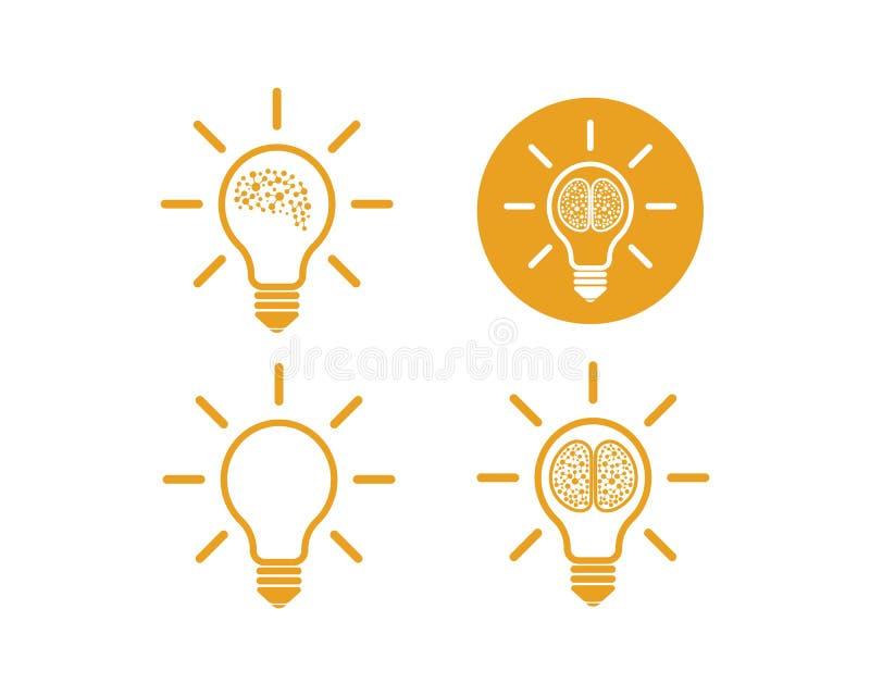 与电灯泡象想法商标传染媒介的脑子和认为 库存例证