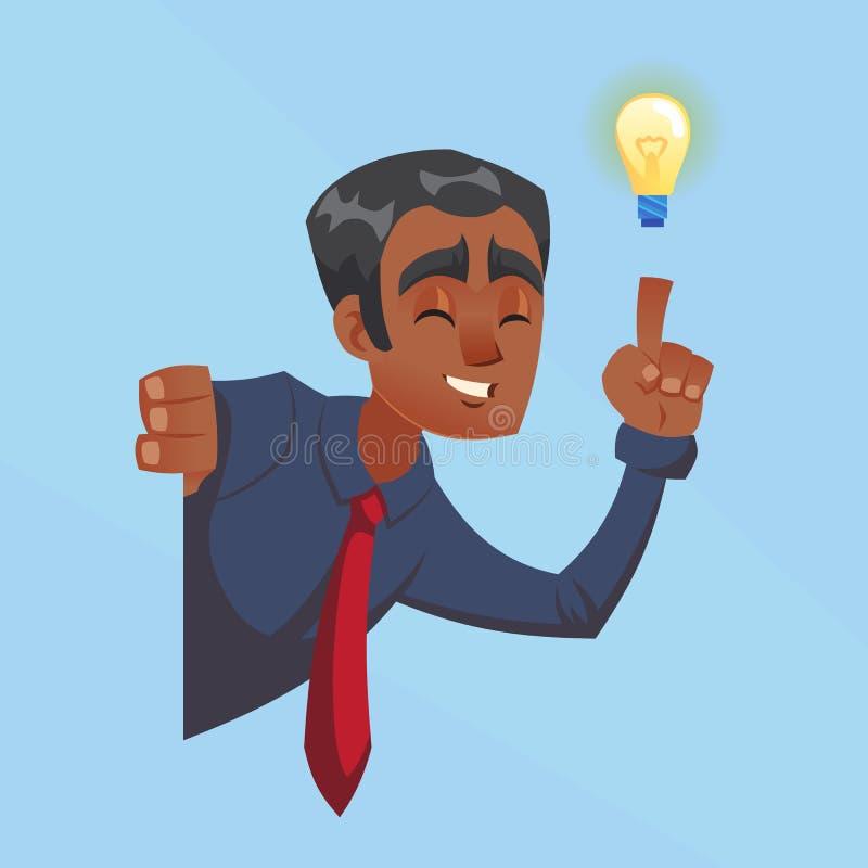 与电灯泡,想法,偷看壁角动画片平的设计例证的启发的商人男性黑暗的皮肤 库存例证