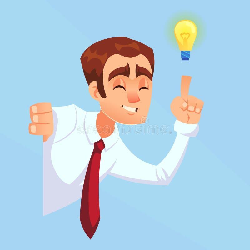 与电灯泡,想法,偷看壁角动画片平的设计例证的启发的商人男性黑暗的皮肤 向量例证