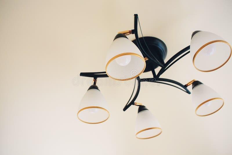 与电电灯泡的巨大的枝形吊灯特写镜头在花梢天花板 免版税库存图片