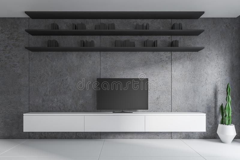 与电视的具体客厅内部 向量例证