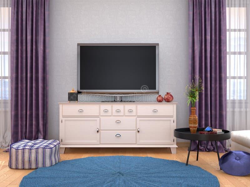 与电视的家庭内部在墙壁上 库存例证