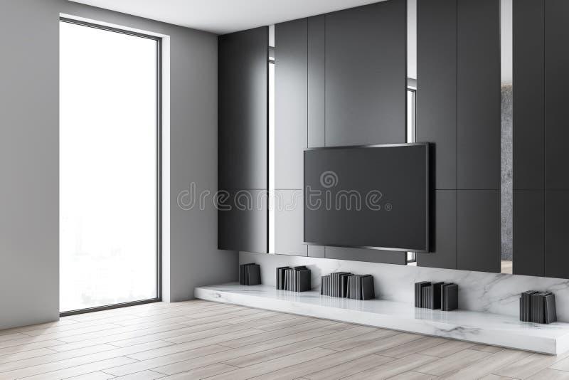 与电视的灰色客厅角落 皇族释放例证