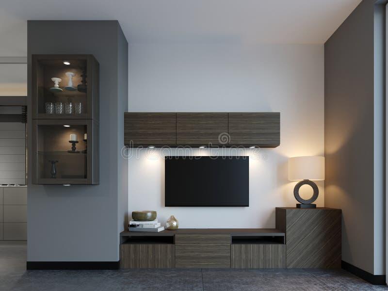 与电视的现代电视立场在顶楼公寓 库存例证