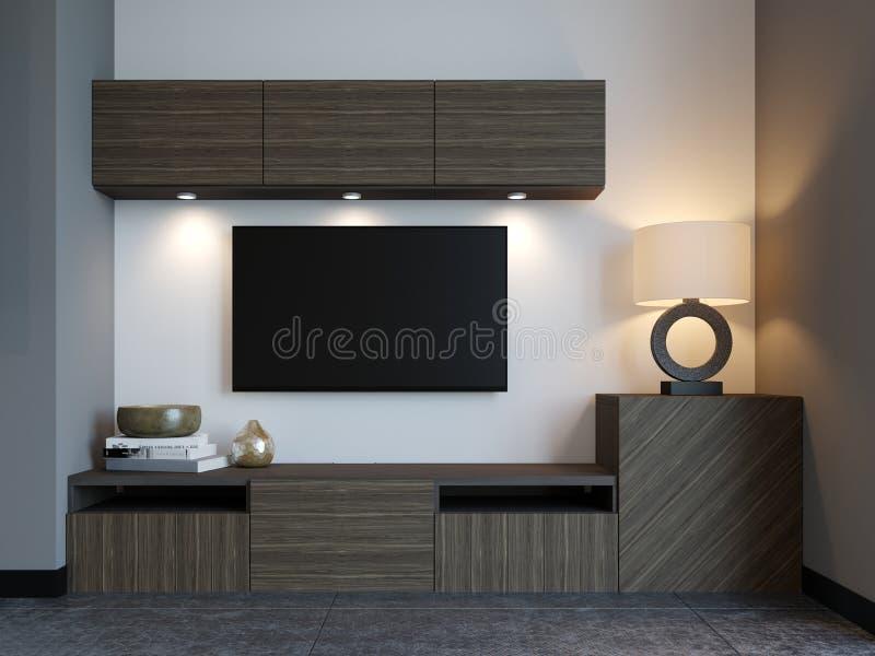 与电视的现代电视立场在顶楼公寓 向量例证