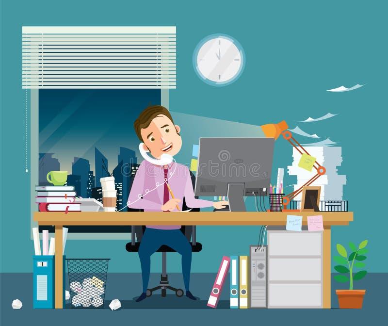 与电话的商人坚苦工作在手中有很多工作 向量例证