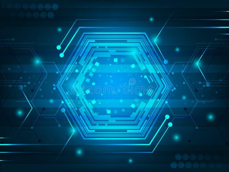 与电路板、六角形、发光的作用和闪烁的抽象未来派数字式创新背景 库存例证