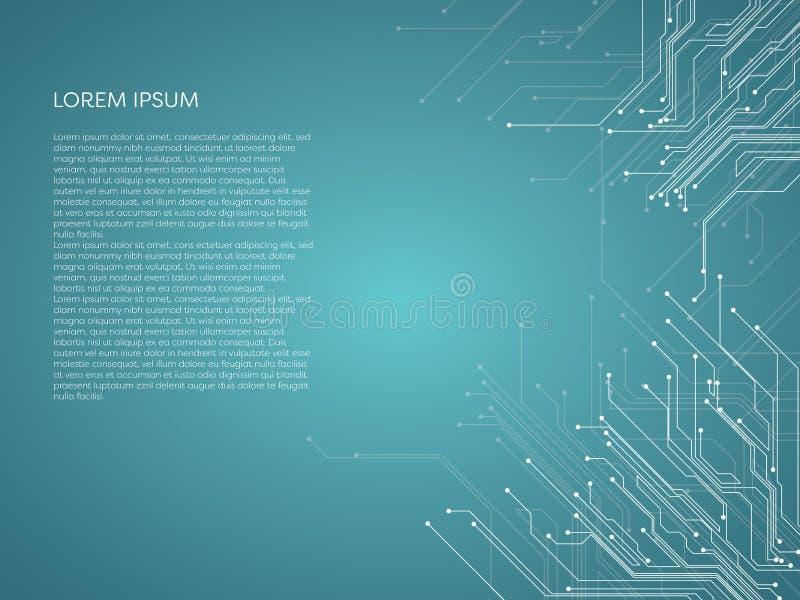 与电路板样式的抽象数字技术传染媒介背景 皇族释放例证