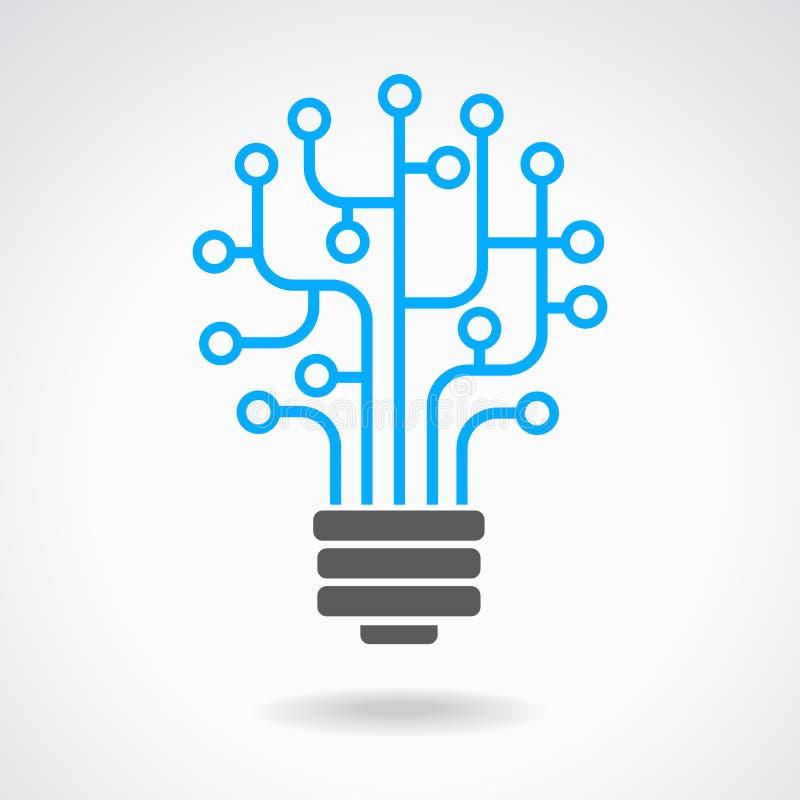 与电路板的电灯泡象 向量例证