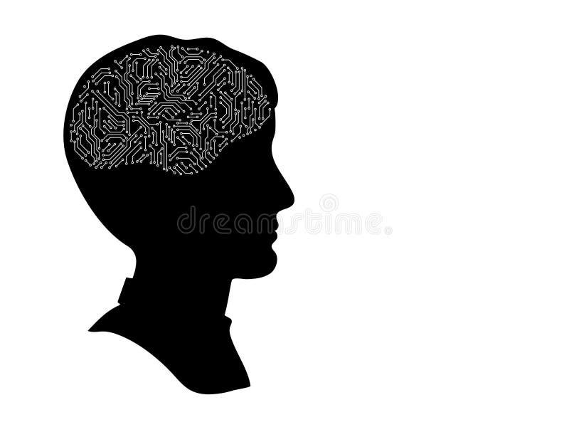 与电路板脑子,黑白人为智力概念,传染媒介的男性顶头外形剪影 皇族释放例证