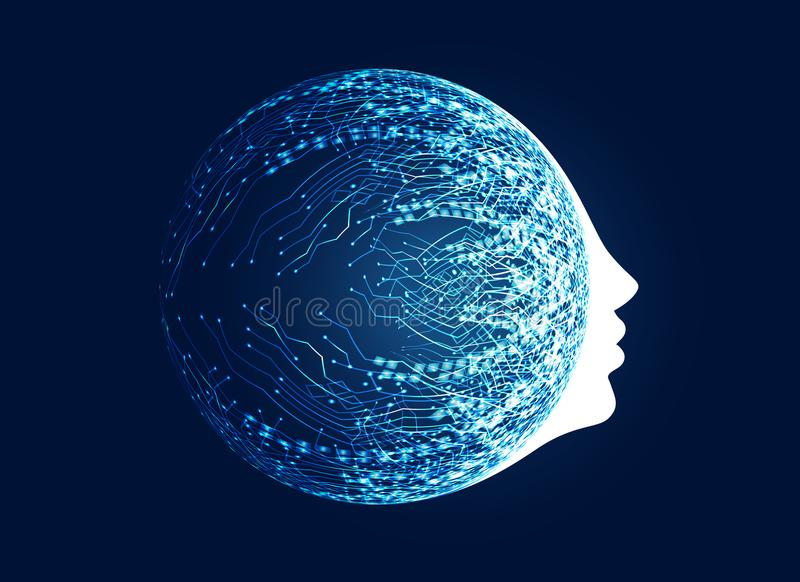 与电路网络概念的数字式面孔机器学习的a 向量例证