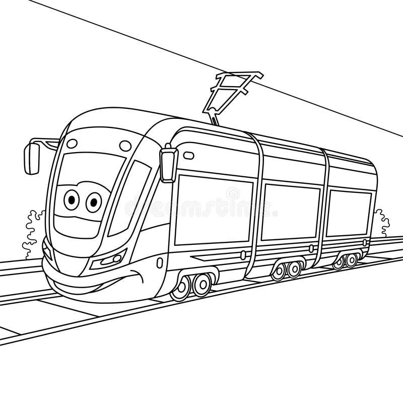 与电车电车的上色页 皇族释放例证