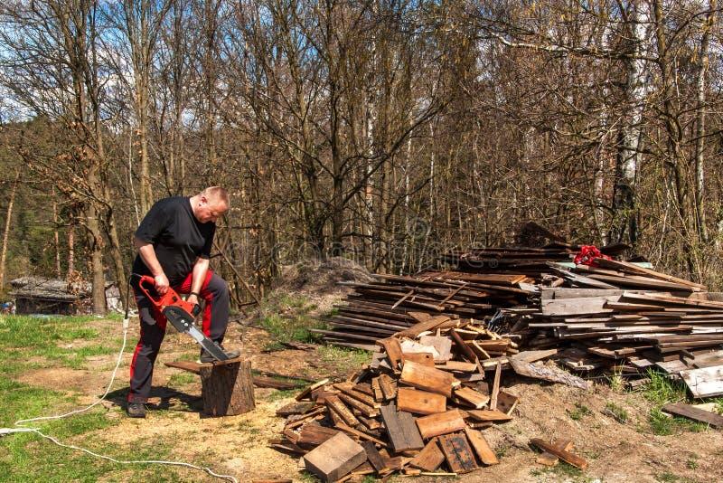 与电锯的人切口 在农场的工作 加热的木准备 伐木工人与锯一起使用 库存图片