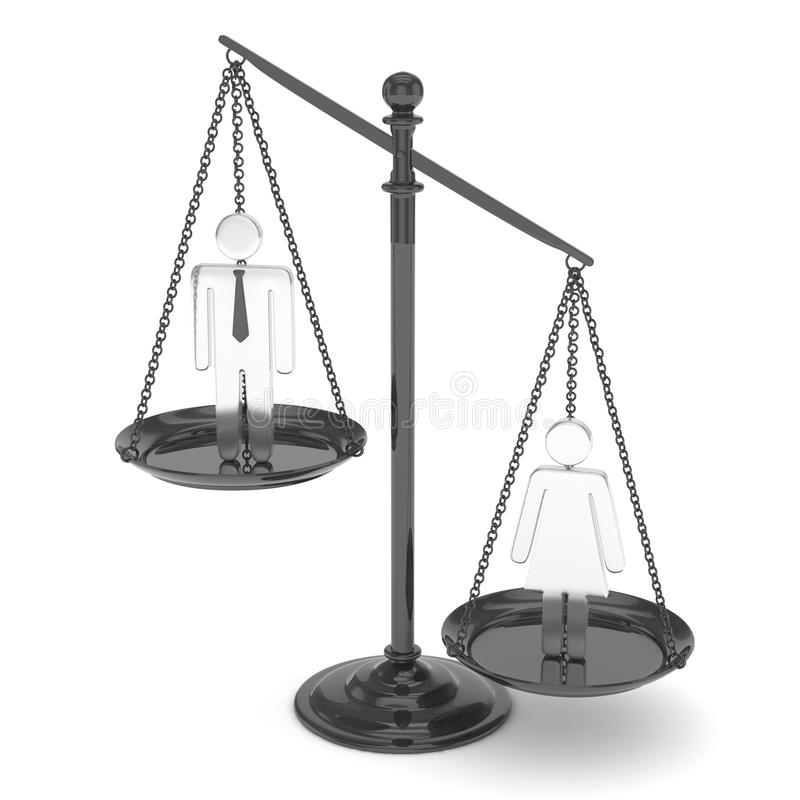 与男人和妇女的平底锅标度 3d翻译 库存例证