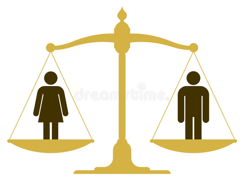 与男人和妇女的平衡的标度 库存例证