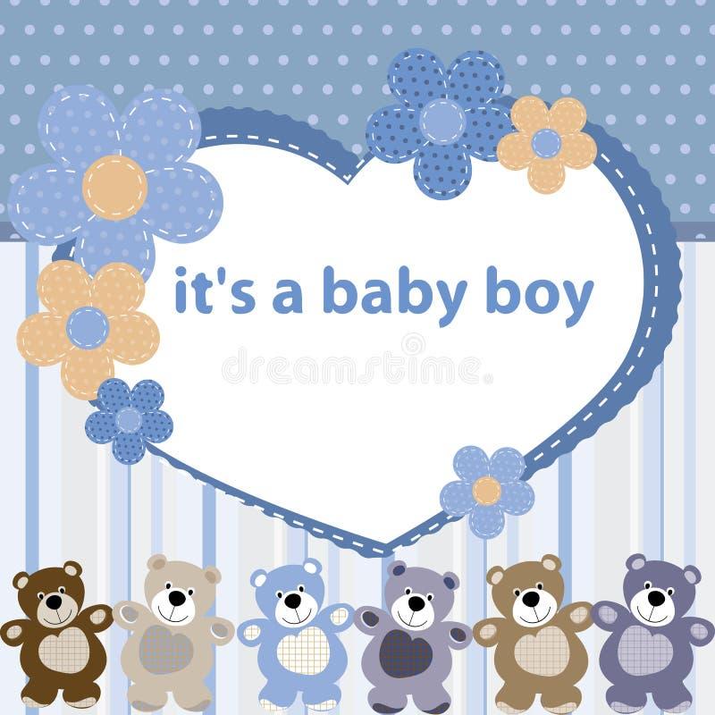 与男婴的诞生的贺卡 库存例证