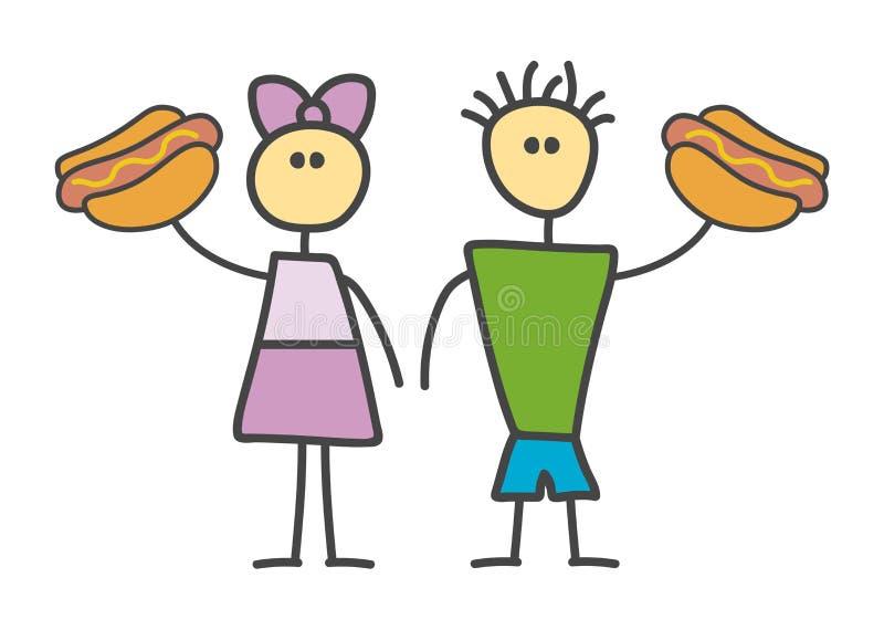 与男孩和女孩字符的儿童样式滑稽的乱画动画片热狗标志 男性和女性展示热狗 m 库存例证