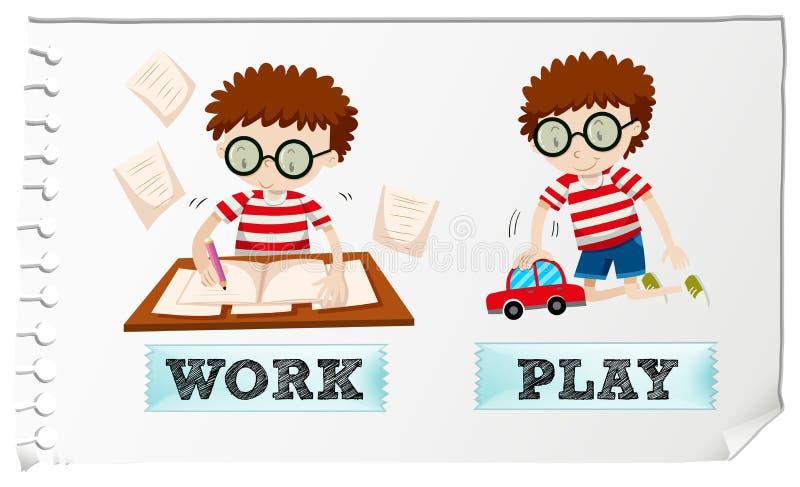 与男孩工作和使用的相反形容词 向量例证