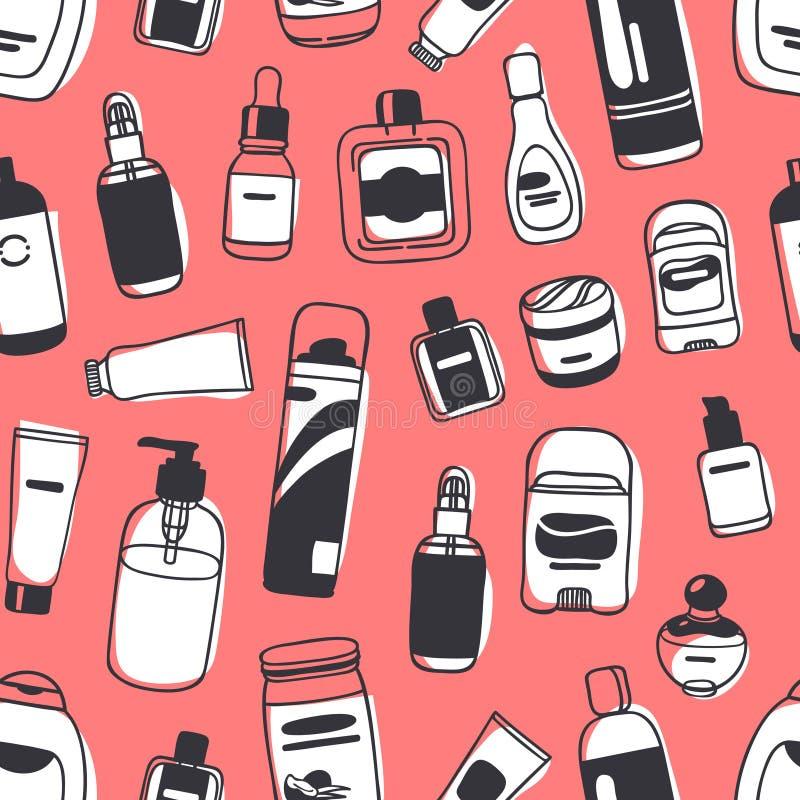 与男性化妆用品的手拉的无缝的样式 传染媒介illustra 库存例证