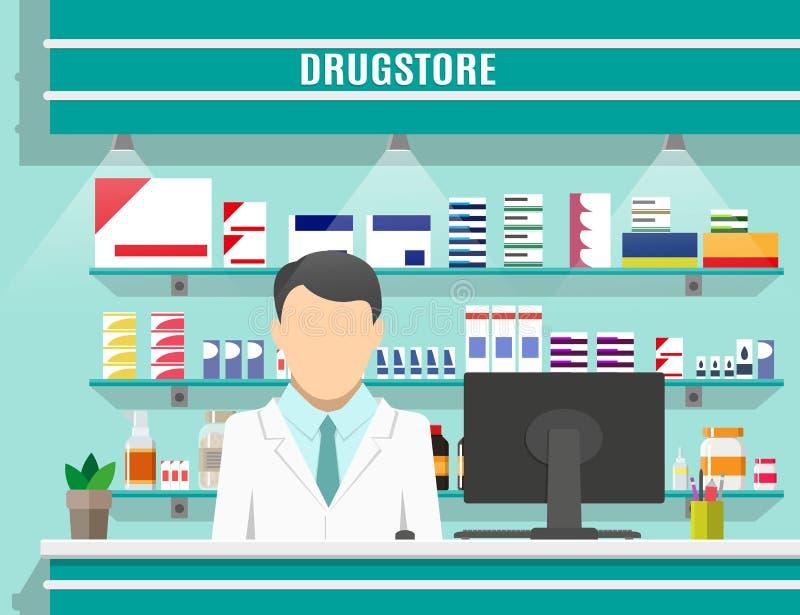 与男性药剂师的现代内部药房 向量例证