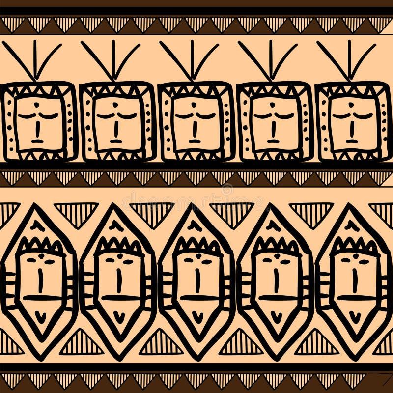 与画多色背景的无缝的种族阿兹台克葡萄酒的传染媒介部族样式 有益于包裹您的纺织品的时尚和 皇族释放例证