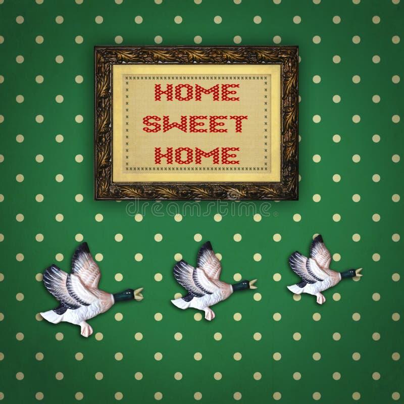 与画框的三只飞行的鸭子 向量例证